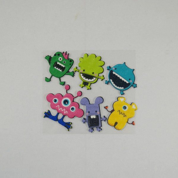 6 x Little Monsters Motif Embellishments Craft Cardmaking Scrapbooking