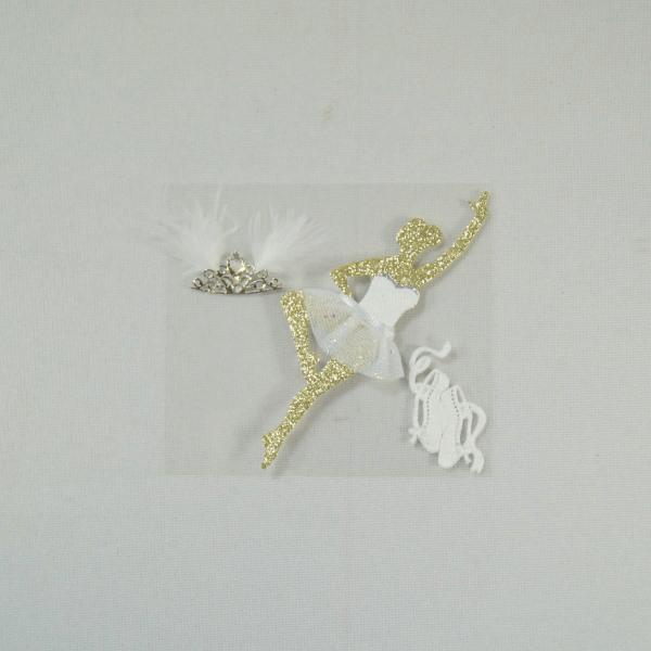 3 x Ballerina Dancing Tiara Embellishments Craft Cardmaking Scrapbooking