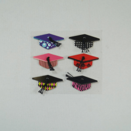 6 x Funky Graduation Caps Embellishments Craft Cardmaking Scrapbooking