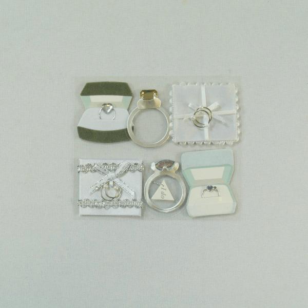 6 x Rings and Cushion Set Wedding Embellishments Craft Cardmaking Scrapbooking