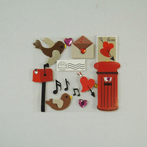 13 x Love Letter Post Birds Embellishments Craft Cardmaking Scrapbooking