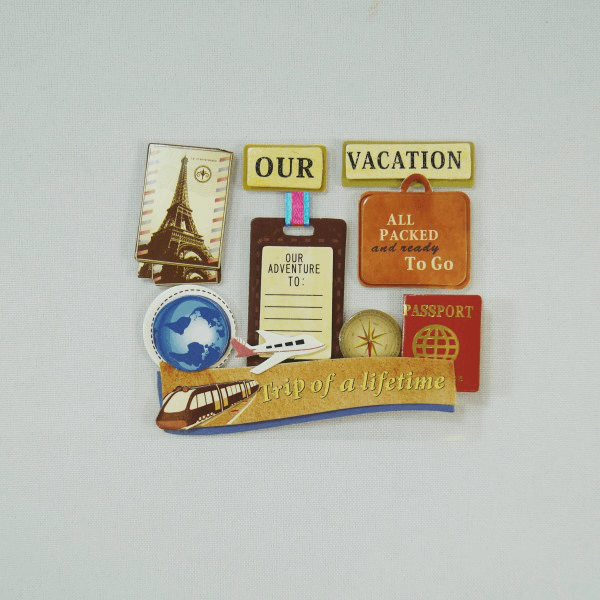 9 x Holiday Vacation Passport Embellishments Craft Cardmaking Scrapbooking
