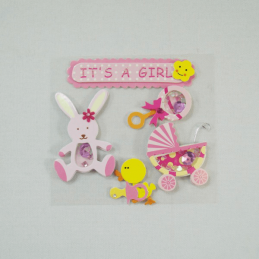 6 x It's A Girl Baby Congratulations Embellishment Craft Cardmaking Scrapbooking