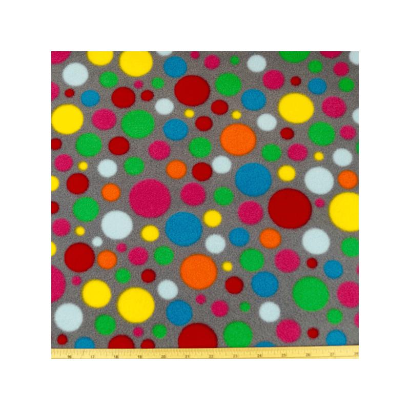Polka Dots Spot Funky Coloured Print Fleece Anti Pil Fabric