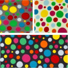 Polar Fleece Anti Pil Fabric Polka Dots Spot Funky Coloured Print