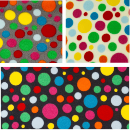 Polka Dots Spot Funky Coloured Print Polar Fleece Anti Pil Fabric