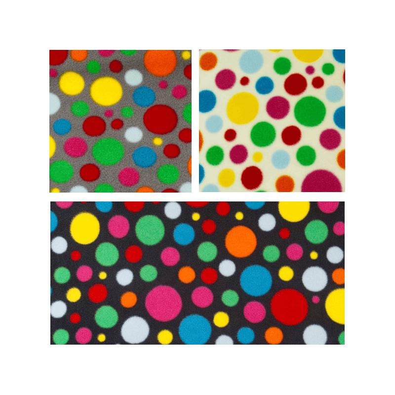 Polka Dots Spot Funky Coloured Print Polar Fleece Anti Pil