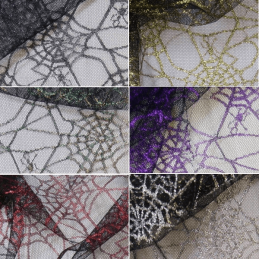 Spiderweb Net Lace Fabric Spider Halloween Cobweb Gothic Material