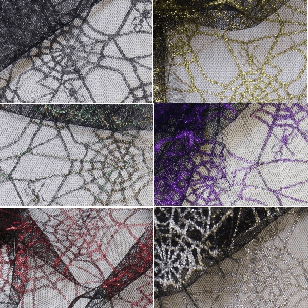 Black Spiderweb Net Lace Fabric