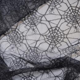 Black Spiderweb Net Lace Fabric
