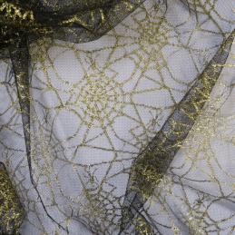 Gold Spiderweb Net Lace Fabric