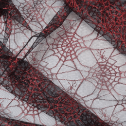 Red Spiderweb Net Lace Fabric
