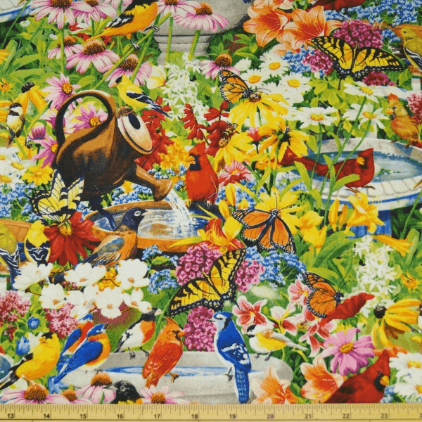 Bird Bath Flowers Garden Watering Can Butterflies 100% Cotton Fabric
