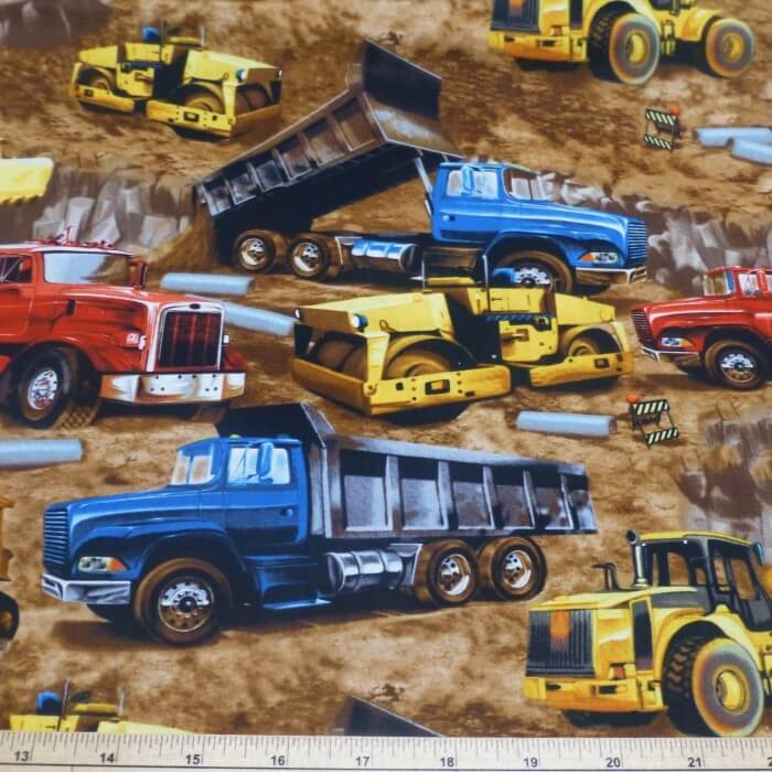 Construction Trucks & Earth Movers 100% Cotton Fabric