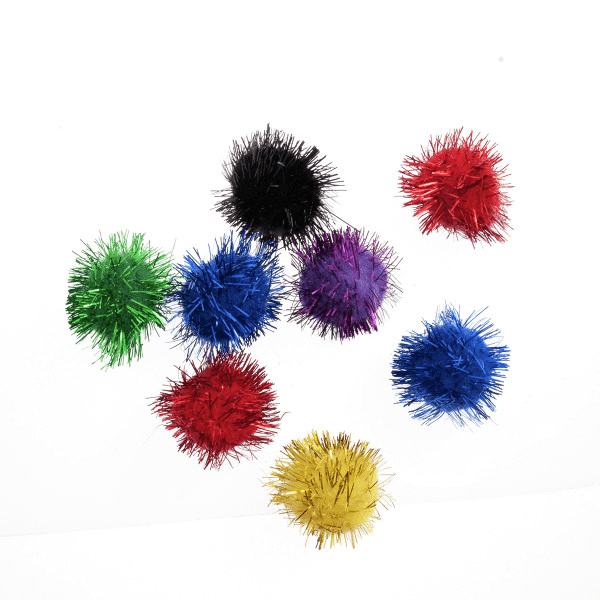 8 Glitter Pom Poms Assorted Colours 2.5cm (1in) Craft Factory