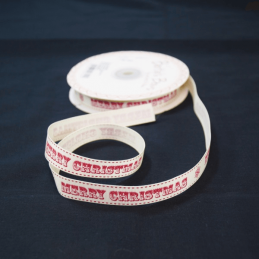 2 Metres 16mm Bertie's Bows Snowy Merry Christmas Stitch Grosgrain Craft Ribbon