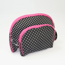 Polka Dot Set of 2 Vanity Bag Cosmetic Make Up Travel Wash Sponge Bag