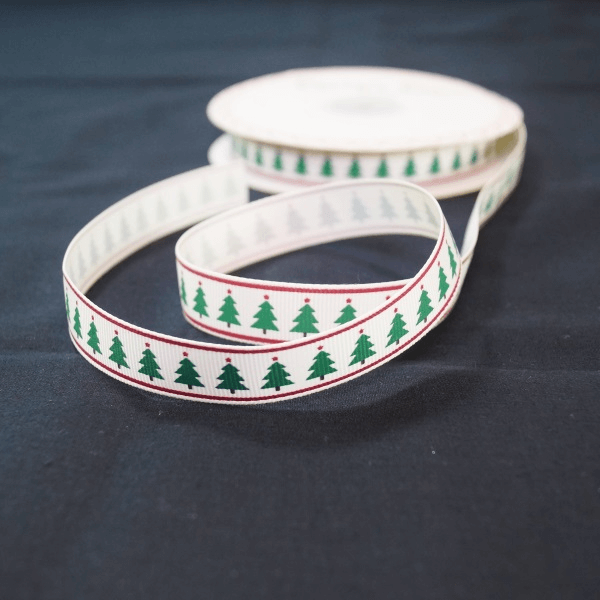2 Metres 16mm Bertie's Bows Christmas Tree Print Grosgrain Craft Ribbon