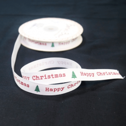 2 Metres 16mm Bertie's Bows Merry Christmas Trees Grosgrain Craft Ribbon
