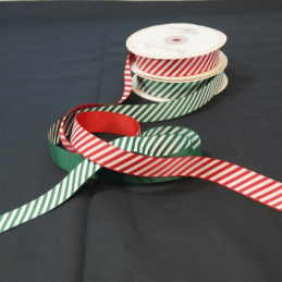 2 Metres 22mm Bertie's Bows Candy Cane Merry Christmas Grosgrain Craft Ribbon