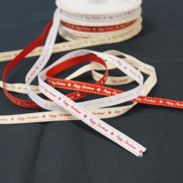 3 Metres 9mm Bertie's Bows Happt Christmas Snowflakes Christmas Grosgrain Craft Ribbon