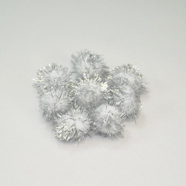 Craft Factory Glitter Pom Poms 1 Inch Silver