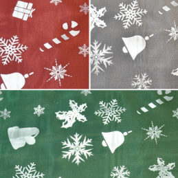 Christmas Presents Bells Snowflakes 100% Polyester Metallic Foil Organza Fabric