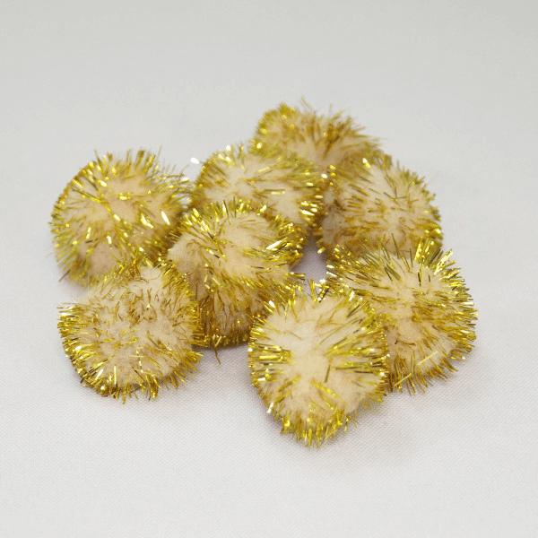 """8 x 1"""" / 25mm Gold Glitter Pom Poms Trimits"""
