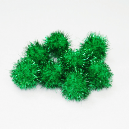 Craft Factory Glitter Pom Poms 1 Inch Green