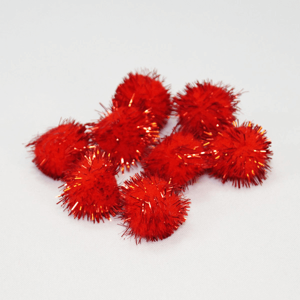 8 Red Glitter Pom Poms 1 Inch / 25mm Trimits