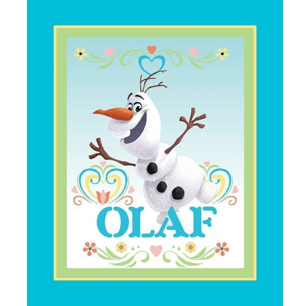 Disney Frozen Dancing Olaf Snowman 90cm x 112cm 100% Cotton Fabric
