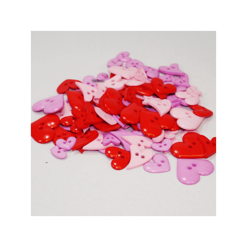 75gRed Pink Lilac Heart Buttons Assorted Sizes Craft Scarpbook Trimits
