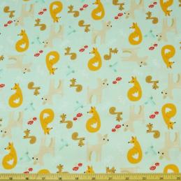 Good Natured Fox Squirrel Deer Bird Mushrooms Leaves 100% Cotton Fabric