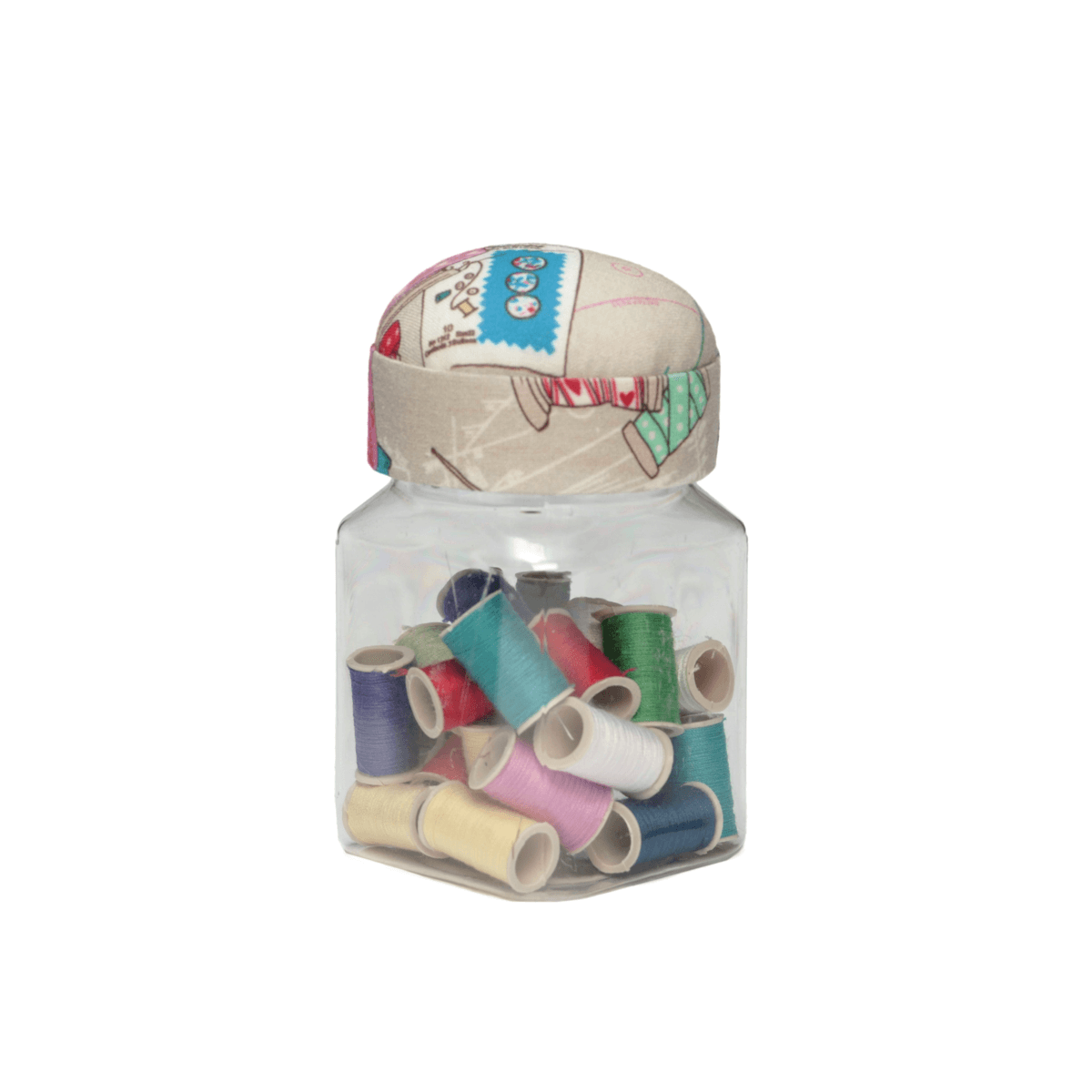 Groves Notions Pin Cushion Jar Lid Threads Sewing Storage Knitting Craft