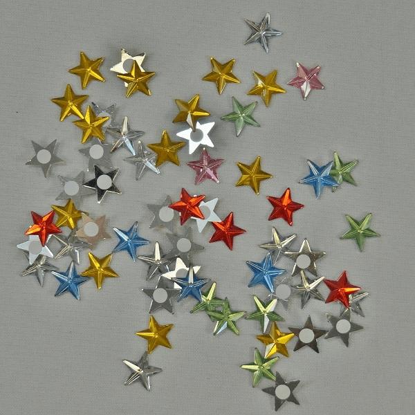 60 x Mirror Stars Self Adhesive Multi Colour Embellishments