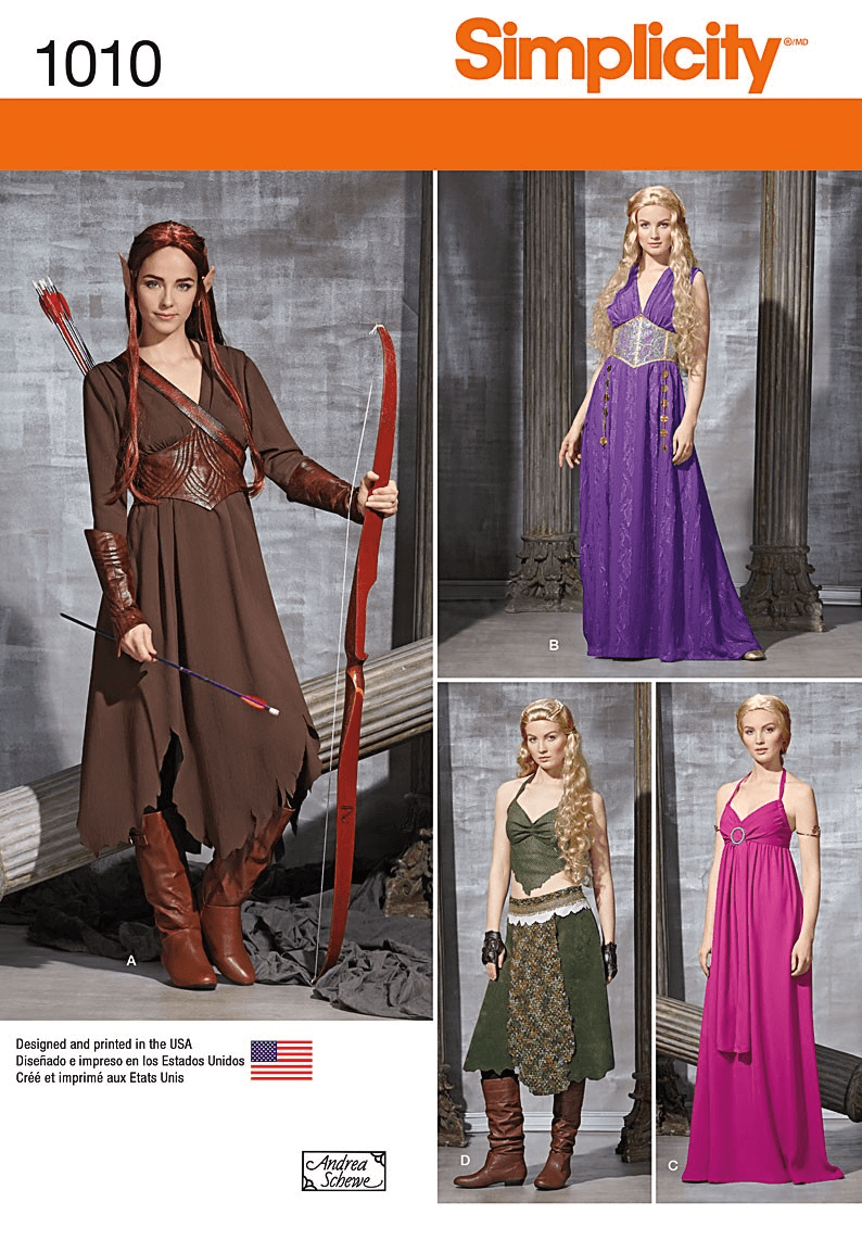 Misses Royal or Warrior Medieval Fantasy Costumes Simplicity Sewing Pattern 1010