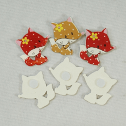 6 x Cheeky Wooden Foxes Embellishments Craft Cardmaking Scrapbooking