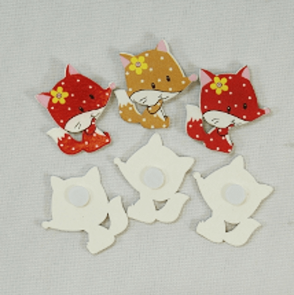 6 x Cheeky Wooden Foxes Self Adhesive in Red & Brown Embellishments