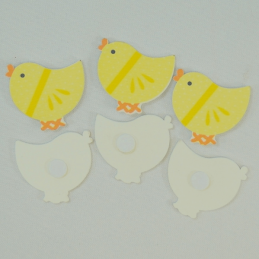 6 x Wooden Yellow Chicks Embellishments Craft Cardmaking Scrapbooking