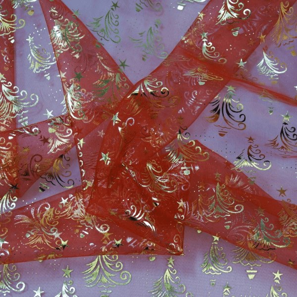 Christmas Tree Festive Foil Scatter Toss 100% Polyester Organdy Fabric