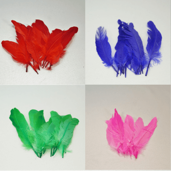 Green 12 x Goose Feathers Multi Coloured Decoration Costume Craft Projects