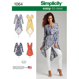 Misses Easy To Sew Wrap Tie Dress Tunic Simplicity Sewing Pattern 1064