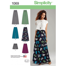 Misses Wide Leg Trousers or Maxi Skirt Simplicity Sewing Pattern 1069