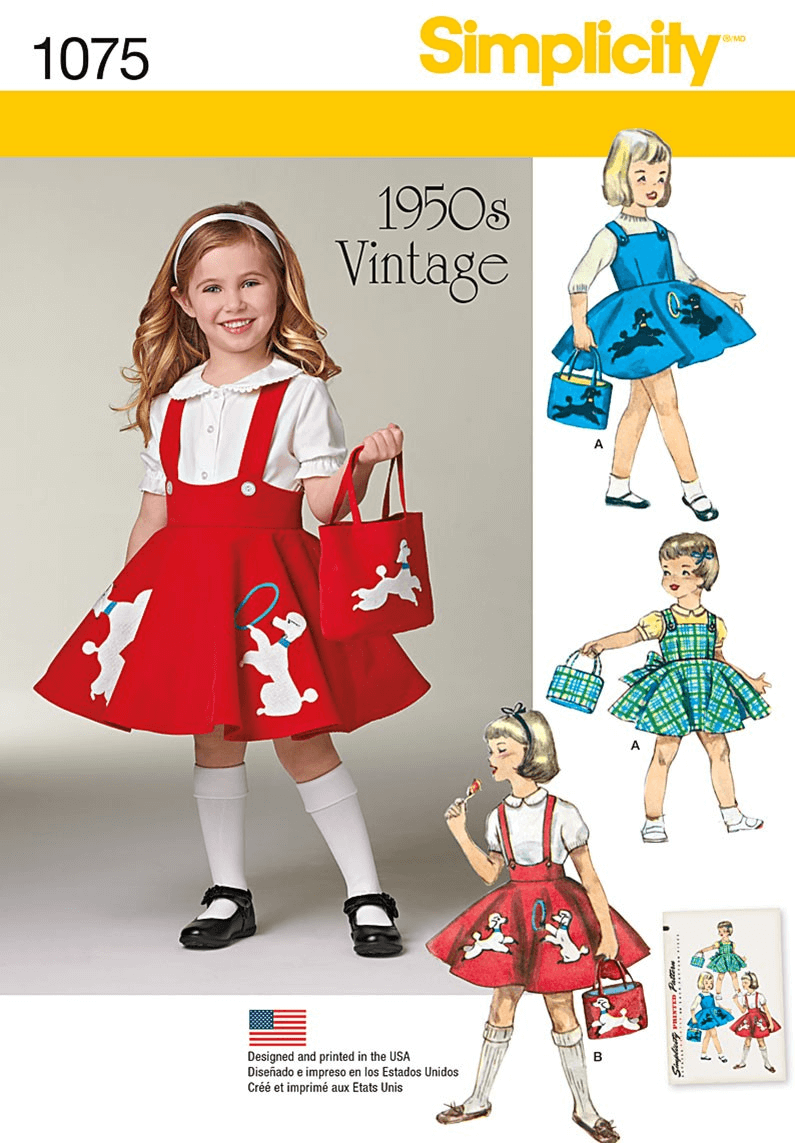 Childs Vintage Skirt Jumper Bag Dress Simplicity Sewing Pattern 1075