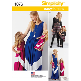 Simplicity Sewing Pattern 1076 Childs Misses Maxi Dress Doll Clothes