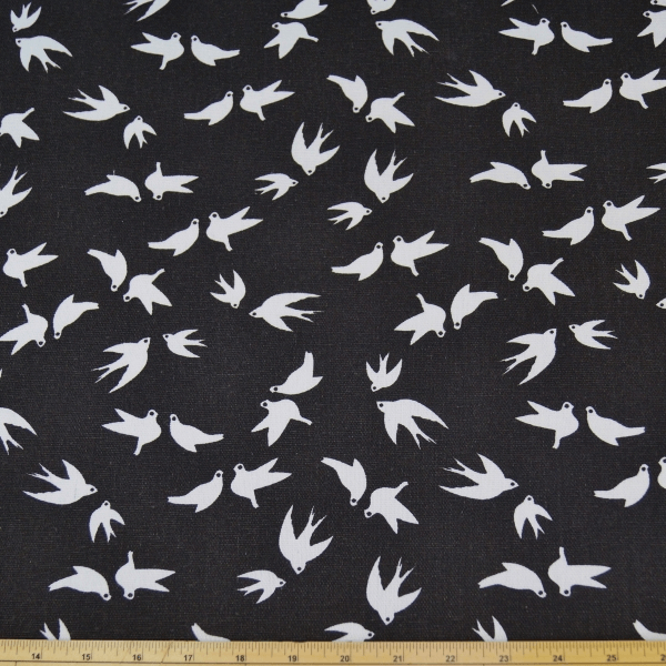 Swallows Birds Flying Cotton Canvas Fabric 150cm Wide