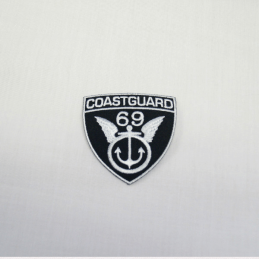 Coastguard 69 Black/White Embroidered Thermo Iron On Motif