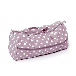 Mauve Spots Polka Dots Rectangle Value Sewing Knitting Craft Hobby Storage Bag