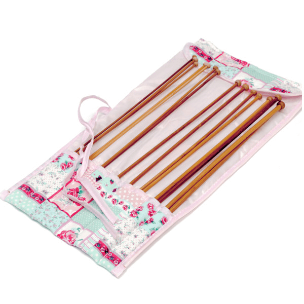 Filled Pink Patchwork Rose Value Knitting Pin Needles Roll Storage
