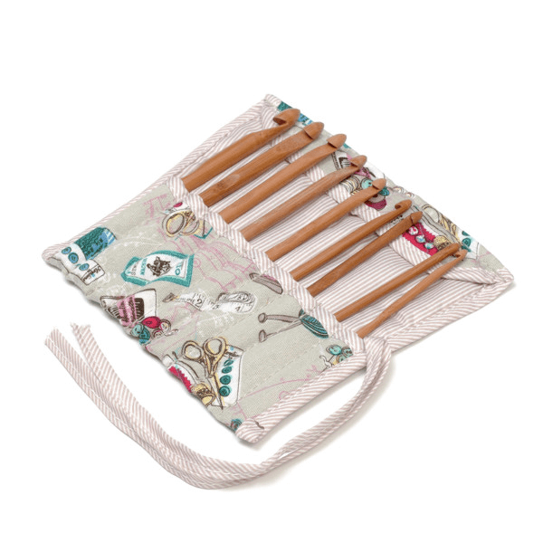 Full Notions Design Crochet Hook Roll Tied Case Knitting Craft Storage